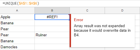 Animated GIF of Google Sheets' UNIQUE function breaking if you block it.